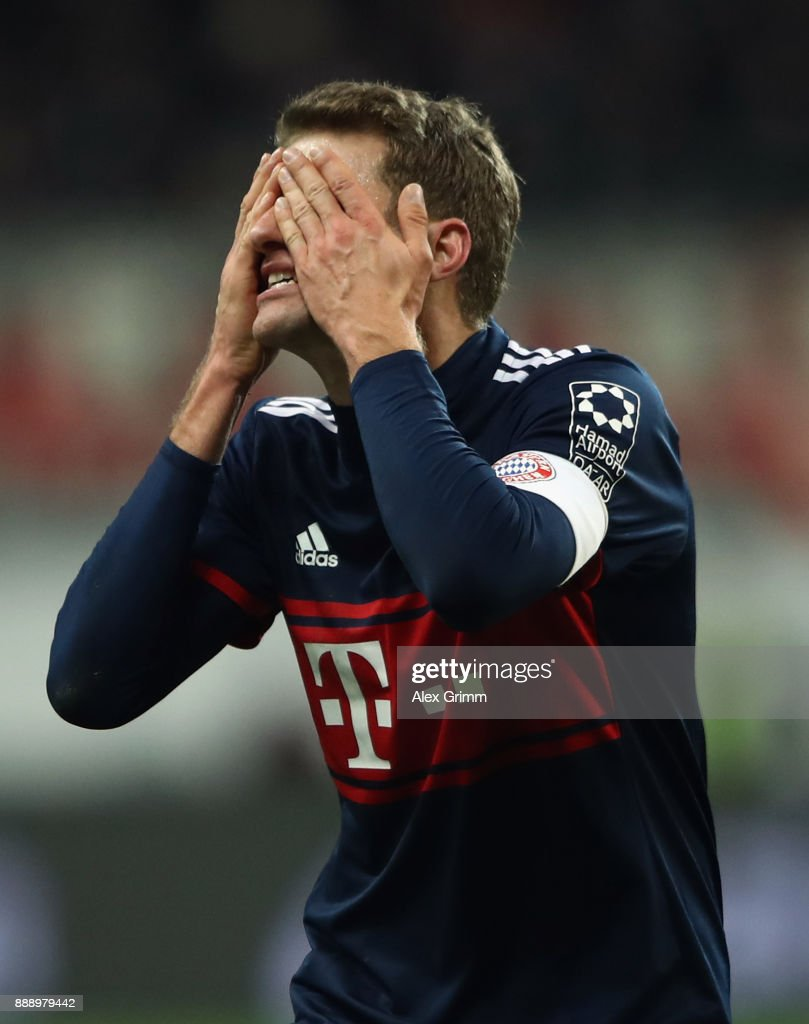 Thomas Mueller of Muenchen reacts during the Bundesliga match between Eintracht Frankfurt and FC Bayern Muenchen at Commerzbank-Arena on December 9, 2017 in Frankfurt am Main, Germany.