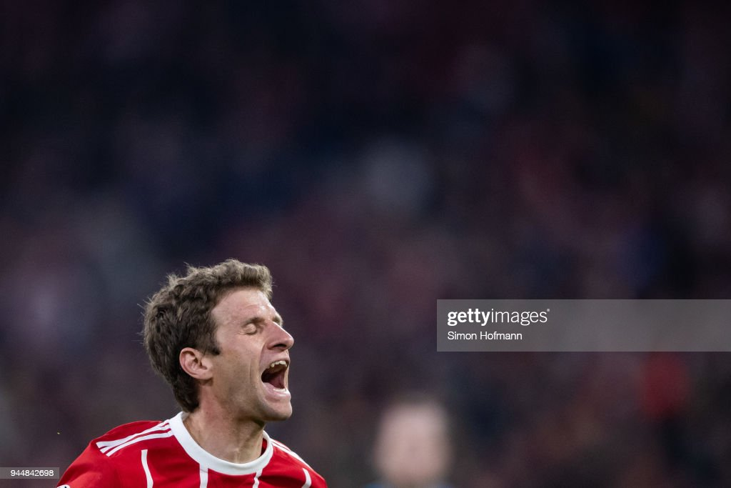 Thomas Mueller of Muenchen reacts during the UEFA Champions League Quarter Final second leg match between Bayern Muenchen and Sevilla FC at Allianz Arena on April 11, 2018 in Munich, Germany.