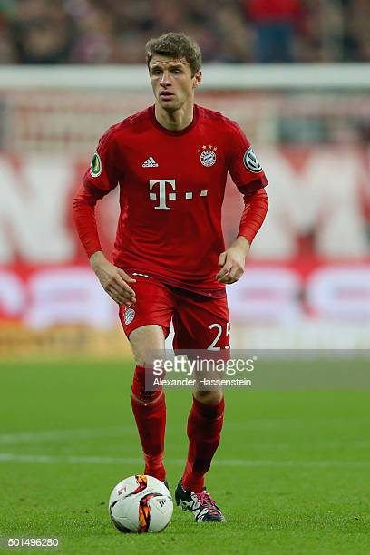 Thomas Mueller of Muenchen runs with the ball during the round of 16 DFB Cup match between FC Bayern Muenchen and Darmstadt 98 at Allianz Arena on...