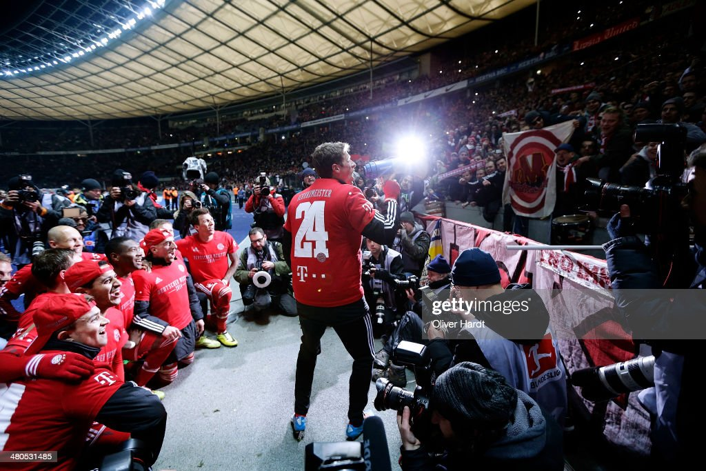Thomas Mueller of Munich celebrates after the Bundesliga match between and Hertha BSC and FC Bayern Muenchen at Olympiastadion on March 25, 2014 in Berlin, Germany.