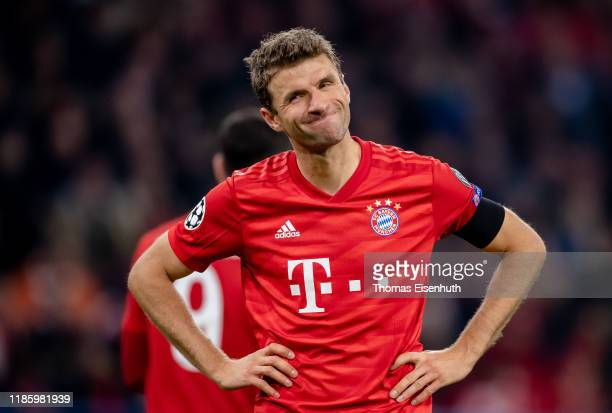 Thomas Mueller of Munich reacts during the UEFA Champions League group B match between Bayern Muenchen and Olympiacos FC at Allianz Arena on November...