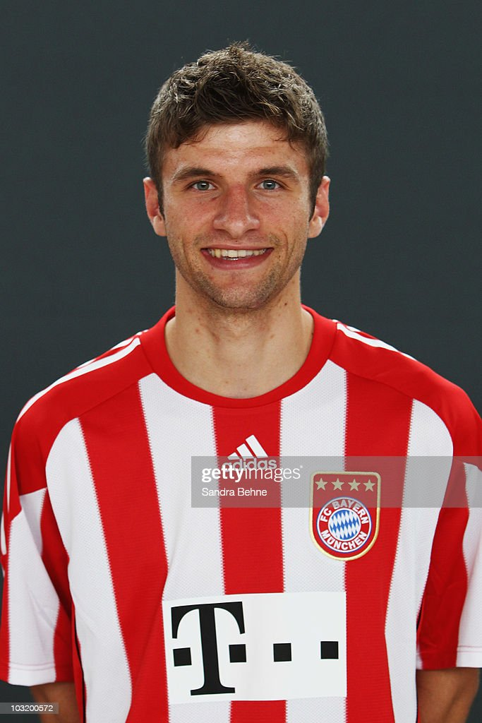 Thomas Mueller poses during the FC Bayern Muenchen team presentation at Bayern's training ground Saebener Strasse on August 2, 2010 in Munich, Germany.