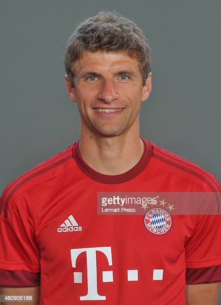 Thomas Mueller poses during the team presentation of FC Bayern Muenchen at Bayern's training ground Saebener Strasse on July 16 2015 in Munich Germany