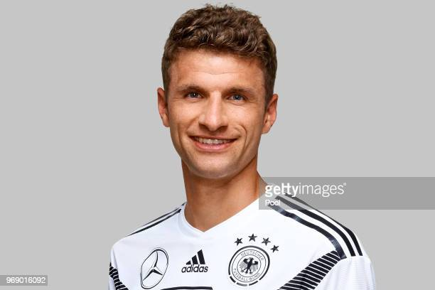 Thomas Mueller poses for a photo during a portrait session ahead of the 2018 FIFA World Cup Russia at Eppan training ground on June 5 2018 in Eppan...