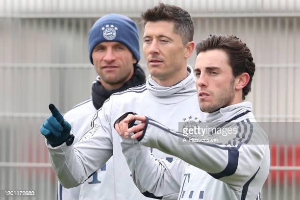 Thomas Mueller Robert Lewandowski and Alvaro Odriozola of FC Bayern Muenchen during a training session at Saebener Strasse training ground on January...
