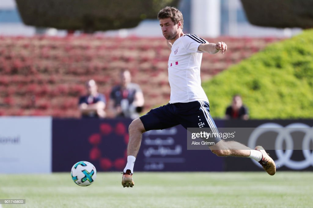 Thomas Mueller shoots the ball during a training session on day 5 of the FC Bayern Muenchen training camp at ASPIRE Academy for Sports Excellence on January 6, 2018 in Doha, Qatar.