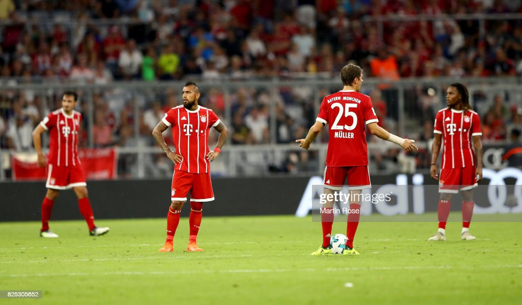 Thomas Mueller#25 of Muenchen reacts during the Audi Cup 2017 match between Bayern Muenchen and Liverpool FC at Allianz Arena on August 1, 2017 in Munich, Germany.