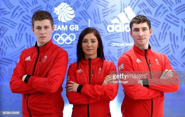 Thomas Muirhead Eve Muirhead and Glenn Muirhead pose during the Team GB Kitting Out Ahead Of Pyeongchang 2018 Winter Olympic Gamesast Adidas...