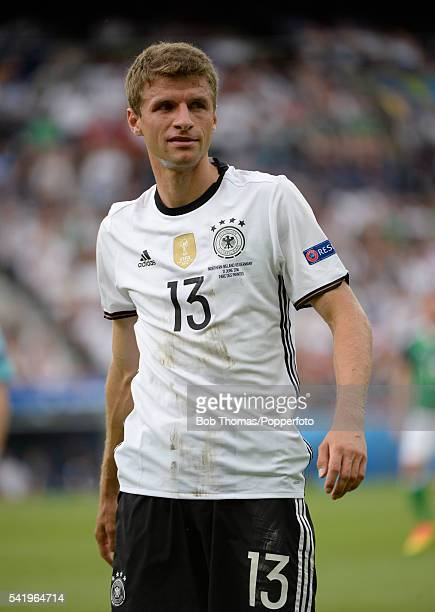 Thomas Muller in action for Germany during the UEFA EURO 2016 Group C match between Northern Ireland and Germany at Parc des Princes on June 21 2016...