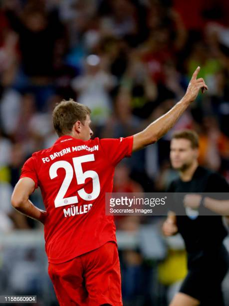 Thomas Muller of Bayern Munchen celebrates during the Audi Cup match between Bayern Munchen v Fenerbahce at the Allianz Arena on July 30, 2019 in...