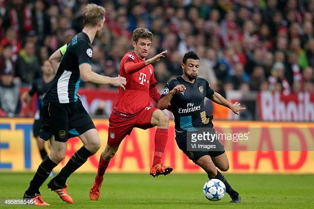 Thomas Muller of Bayern Munchen Francis Coquelin of Arsenal during the Champion League group F match between FC Bayern Munich and Arsenal FC on...