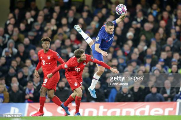 Thomas Muller of Bayern Munich and Mateo Kovacic of Chelsea during the UEFA Champions League round of 16 first leg match between Chelsea FC and FC...