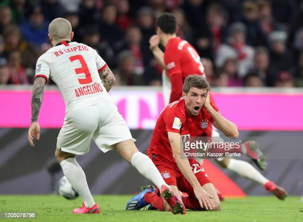 Thomas Muller of Bayern Munich reacts during the Bundesliga match between FC Bayern Muenchen and RB Leipzig at Allianz Arena on February 09 2020 in...