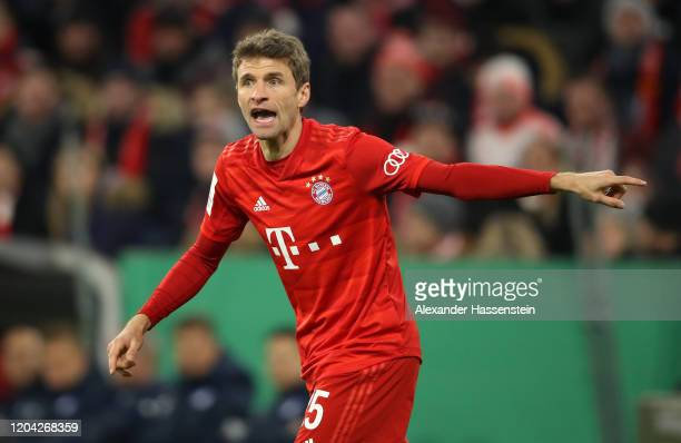 Thomas Muller of Bayern Munich reacts during the DFB Cup round of sixteen match between FC Bayern Muenchen and TSG 1899 Hoffenheim at Allianz Arena...