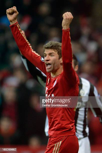 Thomas Muller of FC Bayern Muenchen celebrates after scoring his team's second goal during the UEFA Champions League quarter final first leg match...