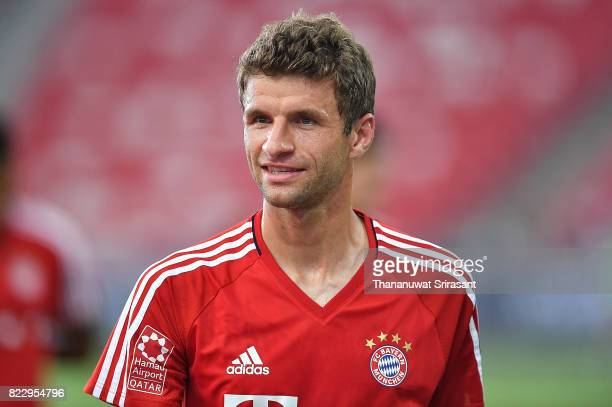 Thomas Muller of FC Bayern Muenchen smiles during a training session of International Champions Cup training session at National Stadium on July 26...
