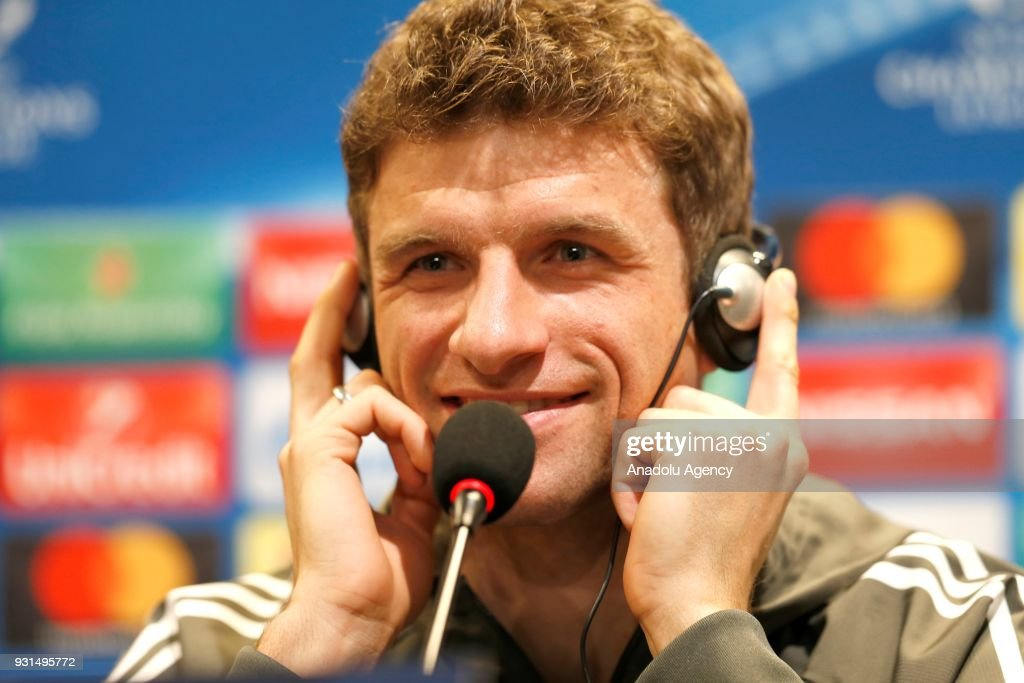 Thomas Muller of FC Bayern Munich attends a press conference ahead of the UEFA Champions League round 16 return match between Besiktas and Bayern Munich on March 13, 2018 at Vodafone Park in Istanbul, Turkey.