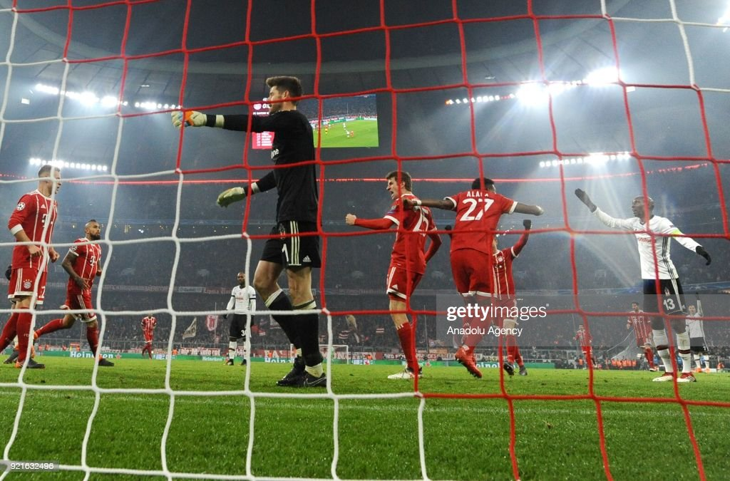 Thomas Muller (C) of FC Bayern Munich celebrates after scoring a goal during the UEFA Champions League Round of 16 soccer match between FC Bayern Munich and Besiktas at the Allianz Arena in Munich, Germany, on February 20, 2018.