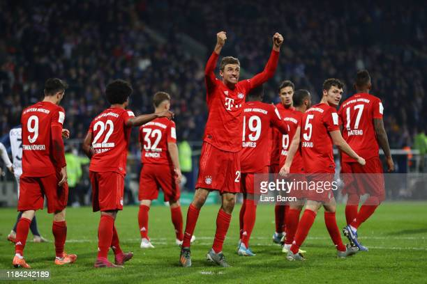 Thomas Muller of FC Bayern Munich celebrates after scoring his team's second goal during the DFB Cup second round match between VfL Bochum and Bayern...