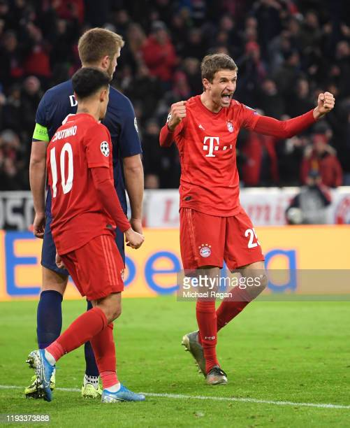 Thomas Muller of FC Bayern Munich celebrates after scoring his team's second goal during the UEFA Champions League group B match between Bayern...