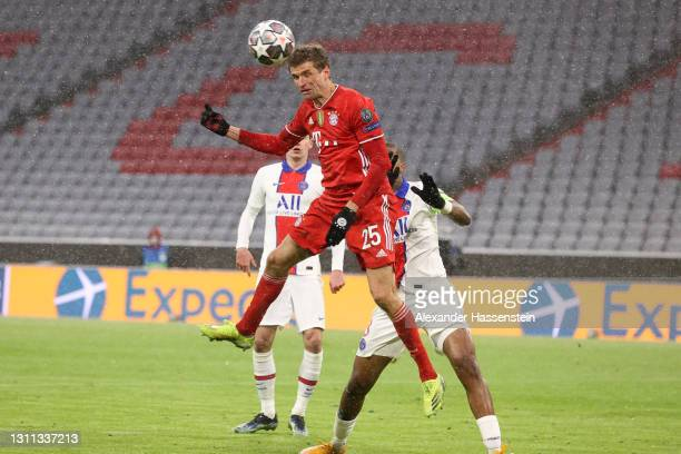 Thomas Muller of FC Bayern Munich scores their side's second goal during the UEFA Champions League Quarter Final match between FC Bayern Munich and...