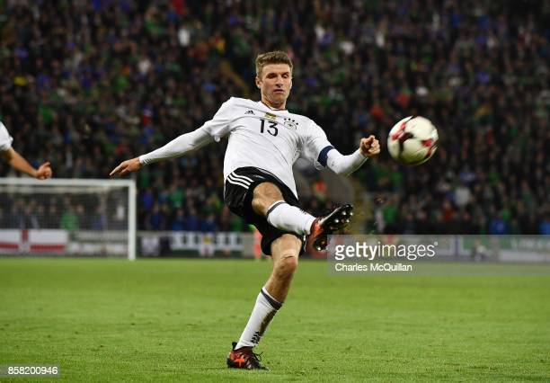 Thomas Muller of Germany during the FIFA 2018 World Cup Qualifier between Northern Ireland and Germany at Windsor Park on October 5 2017 in Belfast...