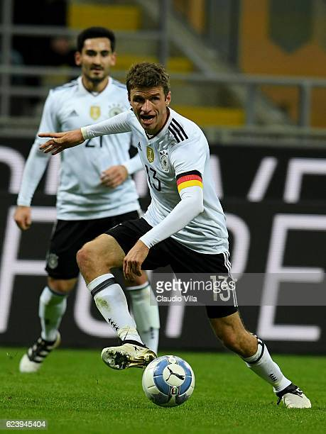 Thomas Muller of Germany in action during the International Friendly Match between Italy and Germany at Giuseppe Meazza Stadium on November 15 2016...
