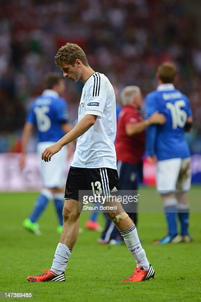 Thomas Muller of Germany shows his dejection after the UEFA EURO 2012 semi final match between Germany and Italy at the National Stadium on June 28...