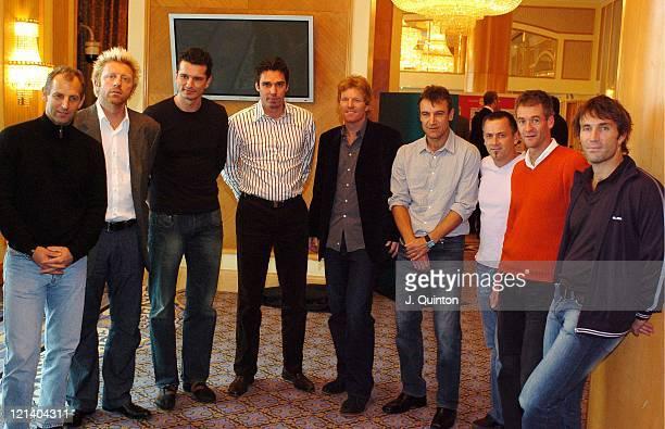 Thomas Muster, Boris Becker, Richard Krajicek, Michael Stich, Jim Courier, Mats Wilander, guests and Pat Cash