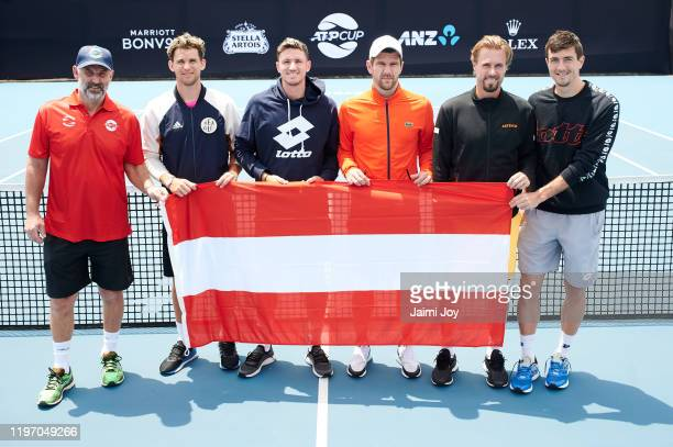 Thomas Muster Dominic Thiem Dennis Novak Jurgen Melzer Oliver Marach and Sebastian Ofner of team Austria pose at ATP Cup media day ahead of the 2020...