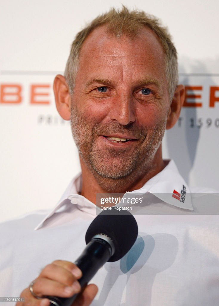 Thomas Muster of Austria reacts during a press conference prior to his match against Andre Agassi of the USA on day one of the Porsche Tennis Grand Prix at Porsche-Arena on April 20, 2015 in Stuttgart, Germany.