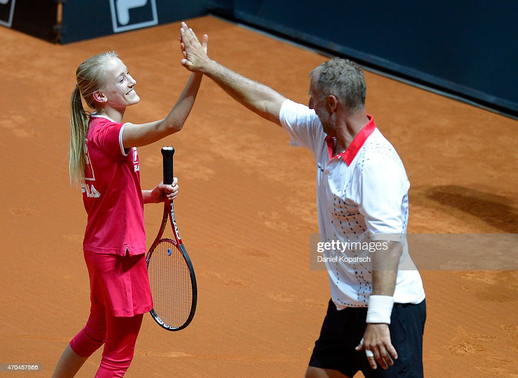 Thomas Muster (R) of Austria reacts during his Berenberg Classic match against Andre Agassi of the USA on day one of the Porsche Tennis Grand Prix at Porsche-Arena on April 20, 2015 in Stuttgart, Germany.