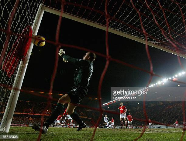 Thomas Myhre of Charlton saves a certain goal by pushing the ball against the post during the Barclays Premiership match between Charlton and West...