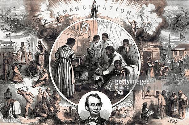 Thomas Nast American school Celebration of the emancipation of Southern slaves at the end of the American Civil War Centre A freedman's home Left...