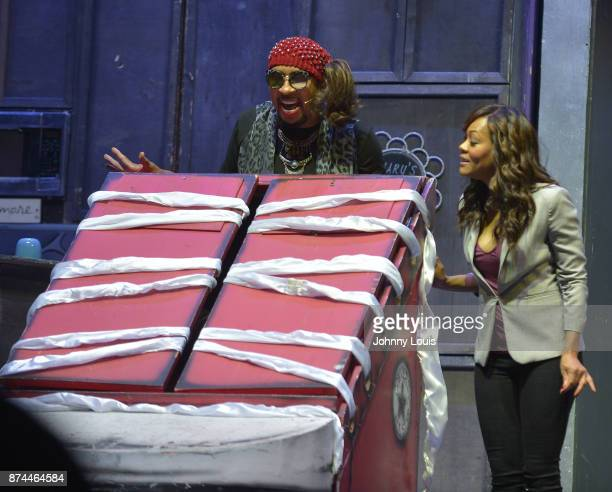 """Thomas """"Nephew Tommy"""" Miles and Robin Givens perform onstage during Priest Tyaire Productions Momma's Boy stage play day 1 at James L Knight Center..."""