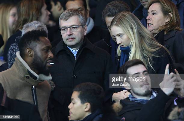 Thomas N'Gijol President of AS Monaco Dmitri Rybolovlev attend the French Ligue 1 match between Paris SaintGermain and AS Monaco at Parc des Princes...