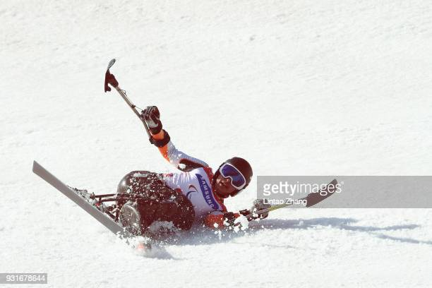 Thomas Nolte of Germany falls during the Men's Giant Slalom Run 1 Sitting at Alpensia Biathlon Centre on day five of the PyeongChang 2018 Paralympic...