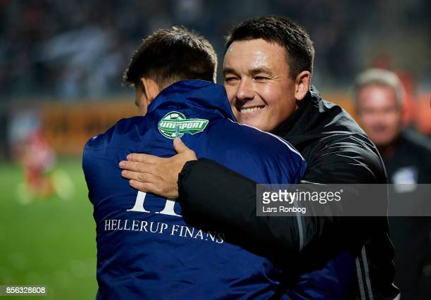 Thomas Norgaard head coach of Lyngby BK celebrates after the Danish Alka Superliga match between Lyngby BK and FC Copenhagen at Lyngby Stadion on...