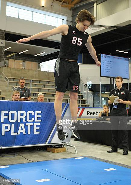 Thomas Novak performs a jump station test during the NHL Combine at HarborCenter on June 6 2015 in Buffalo New York