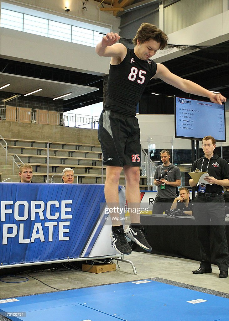 Thomas Novak performs a jump test during the NHL Combine at HarborCenter on June 6, 2015 in Buffalo, New York.