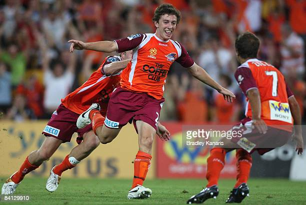 Thomas Oar of the Roar celebrates scoring a winning goal in the final minutes of the match during the round 17 ALeague match between the Queensland...