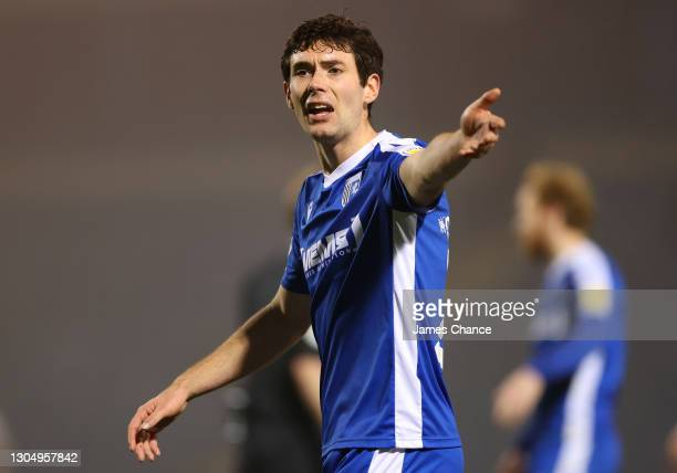 Thomas O'Connor of Gillingham FC reacts during the Sky Bet League One match between Gillingham and Milton Keynes Dons at MEMS Priestfield Stadium on...