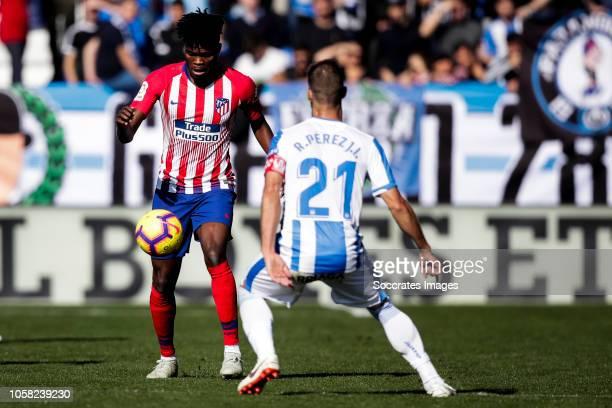 Thomas of Atletico Madrid Ruben Perez of Leganes during the La Liga Santander match between Leganes v Atletico Madrid at the Estadio Municipal de...