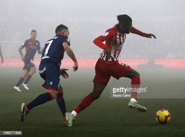 Thomas of Club Atletico de Madrid of during the La Liga match between SD Huesca and Club Atletico de Madrid at El Alcoraz on January 19 2019 in...