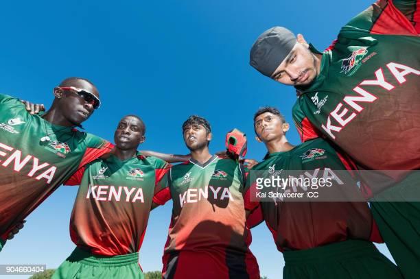 Thomas Ojijo Gerard Mwendwa Abhishekh Chidambaran Jayant Mepani and Sukhdeep Singh of Kenya look on prior to the ICC U19 Cricket World Cup match...