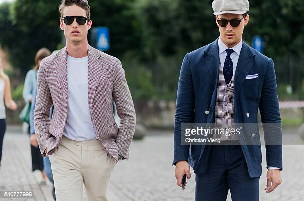 Thomas Op de Beeck and Anton Op de Beeck during Pitti Uomo 90 on June 16 in Florence Italy