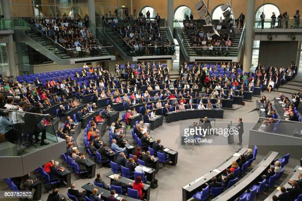 Thomas Oppermann Bundestag faction leader of the German Social Democrats speaks prior to a vote at the Bundestag on a new law to legalize gay...