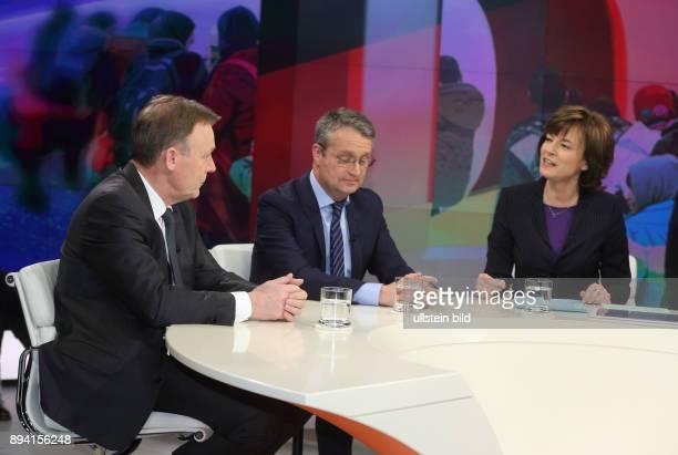 Thomas Oppermann Gabor Steingart und Maybrit Illner in der ZDFTalkshow maybrit illner am in Berlin Auf verlorenem Posten Scheitert Merkel an Europa