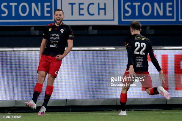 Thomas Oude Kotte of Excelsior celebrates 1-0 with Reuven Niemeijer of Excelsior during the Dutch KNVB Beker match between Excelsior v PEC Zwolle at...