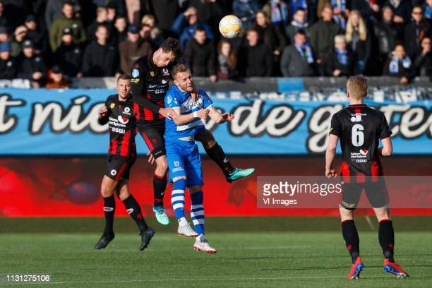 Thomas Oude Kotte of Excelsior Jurgen Mattheij of Excelsior Lennart Thy of PEC Zwolle during the Dutch Eredivisie match between sbv Excelsior...